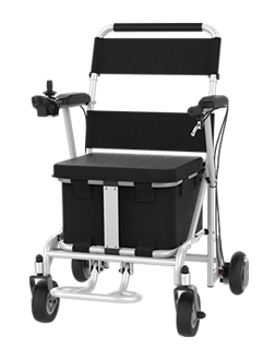 H8 power chair is to make parents' daily travel easier, with large-capacity storage box, intelligent handlebar controller and dual braking systems.